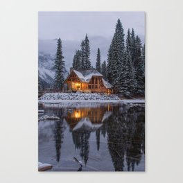 Cabin in Winter Woods (Color) Canvas Print