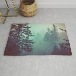 Forest Fog Fir Trees Rug