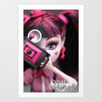 monster high Art Prints featuring Draculaura Monster High Dolls MHSQ by KittRen
