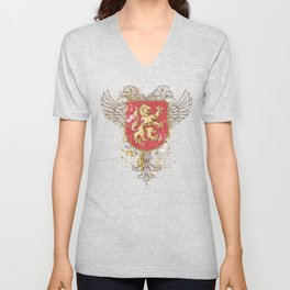 Coat of Arms Shield - Griffin Seal - Crown Lion and the Mark Unisex V-Neck
