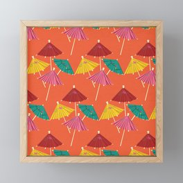 Tiki Umbrella Pattern Framed Mini Art Print