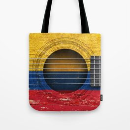 Old Vintage Acoustic Guitar with Colombian Flag Tote Bag
