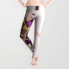 1434s-MM High Key Art Nude in Jester Mask Bending over Backwards Leggings
