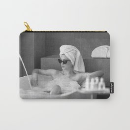 Female in Sunglass in Bathtub of Parisian cold-water flat black and white photograph - photography - photographs wall decor Carry-All Pouch
