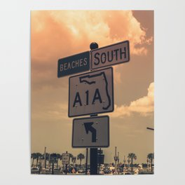 A1A South To The Beaches Poster