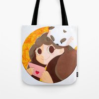 puppycat Tote Bags featuring Bee & Puppycat by martinezmaca