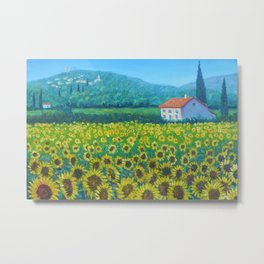 Sunflowers and Sunflower Fields of Provence, France landscape floral painting Metal Print