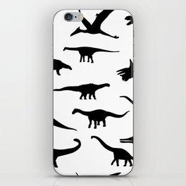 Black and white dinosaurus pattern iPhone Skin