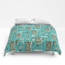 Tropical Tiki - Aqua Comforters