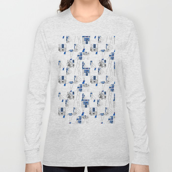 Robot Girl Cubism Long Sleeve T-shirt