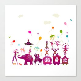 colorful circus carnival traveling in one row on white background Canvas Print