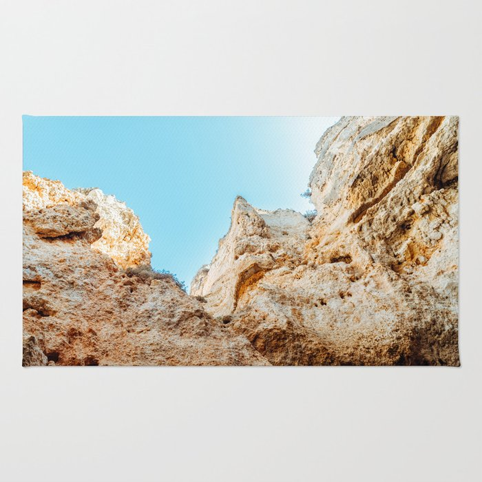 Natural Rock Formations In Lagos, Algarve Portugal, Travel Photo, Large Printable Photography Rug
