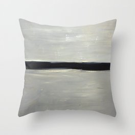 Grey with Black Stripe Throw Pillow