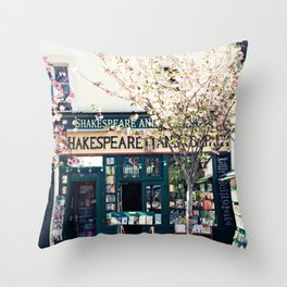 Cherry blossoms in Paris, Shakespeare & Co. Throw Pillow