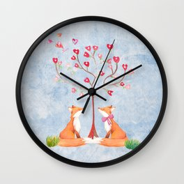 Fox love- foxes animal nature _ Watercolor illustration Wall Clock