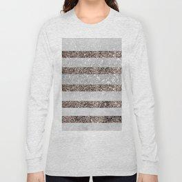 White Marble Rose Gold Glitter Stripe Glam #2 #minimal #decor #art #society6 Long Sleeve T-shirt