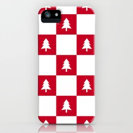 Christmas Tree - red and white check iPhone Case