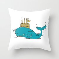 submarine Throw Pillows featuring SUBMARINE by yamini