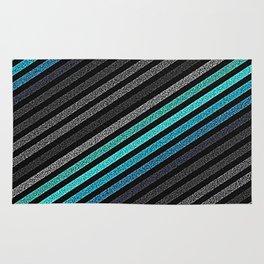 stripeS : Slate Gray Teal Blue Rug
