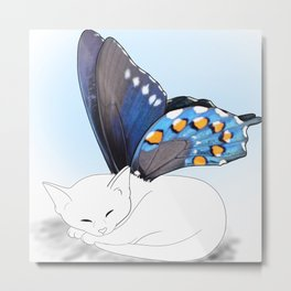 White Kitten Fairy Metal Print