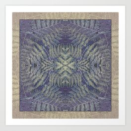 SYMMETRICAL PASTEL PURPLE BRACKEN FERN MANDALA Art Print