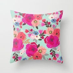 Sweet Pea Floral Aqua Throw Pillow
