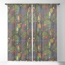Jungle Pattern with Monkeys, Macaws and colorful Dart Frogs Sheer Curtain