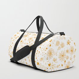 Floral, snail and hearts doodles in orange Duffle Bag