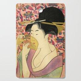 Japanese Art Print - Japanese Woman - Kushi Utamaro Cutting Board