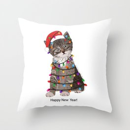 Cute cat with Santa Claus hat and light bulb Throw Pillow