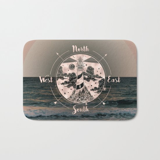 Lighthouse Compass Ocean Sunset Rose Gold Bath Mat