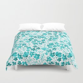 Turquoise Watercolor Floral Pattern Duvet Cover