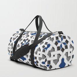 black, white, blue, grey -  Oriental design - orient  pattern - arabic style geometric mosaic Duffle Bag