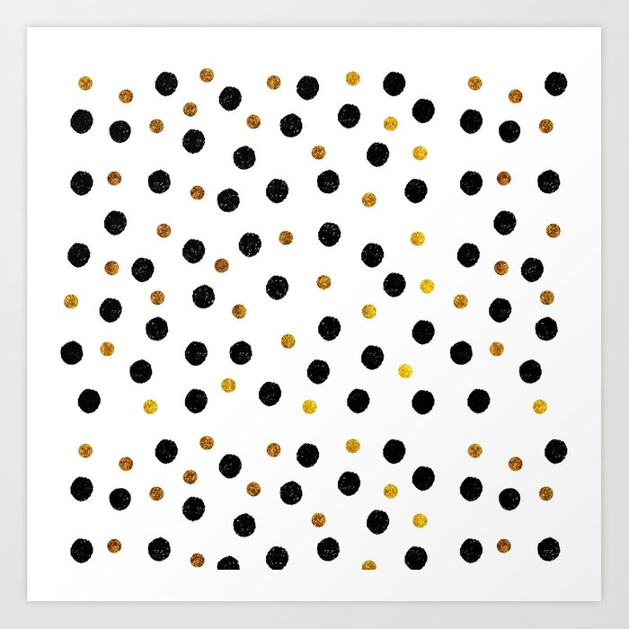 Black Amp Gold Glitter Confetti On White Background Elegant