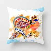 kangaroo Throw Pillows featuring Kangaroo by Armyhu