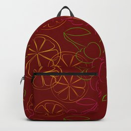 Outline cherries and lemon on red background Backpack