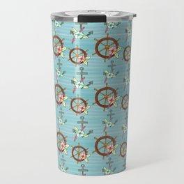 Floral Anchors and Ships Wheel Stripe Pattern Travel Mug