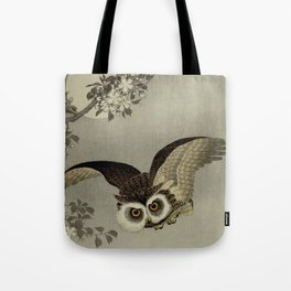 Japanese Owl and Moon Tote Bag