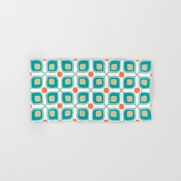 Abstract Flower Pattern Mid Century Modern Retro Turquoise Orange Hand & Bath Towel