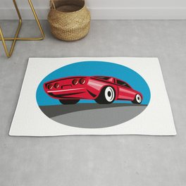 American Muscle Car Oval Retro Rug