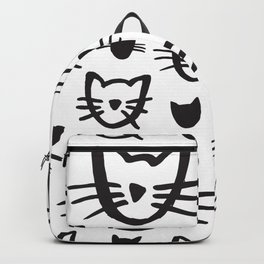 Cat's Whiskers Black And White Illustration Pattern Backpack
