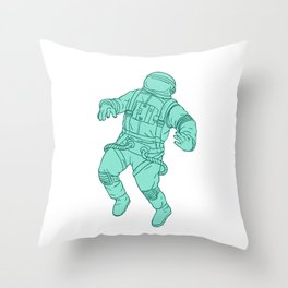 Astronaut Floating in Space Drawing Throw Pillow