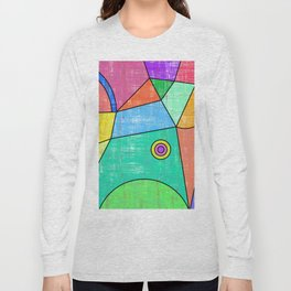 Colorful geometric abstract print, primary colors print Long Sleeve T-shirt