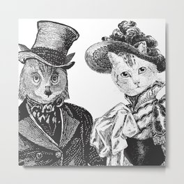 The Owl and the Pussycat   Anthropomorphic Owl and Cat   Black and White   Metal Print
