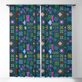 Retro geometric pattern Blackout Curtain