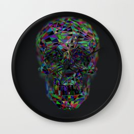 Skull Low-Poly Color Wall Clock