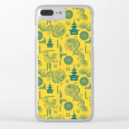 Yellow and Blue Chinoiserie Clear iPhone Case