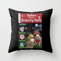 gravity falls Throw Pillows featuring Tales from Gravity Falls by Jelly Soup Studios
