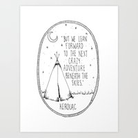 kerouac Art Prints featuring Kerouac Teepee by Narts and Crafts