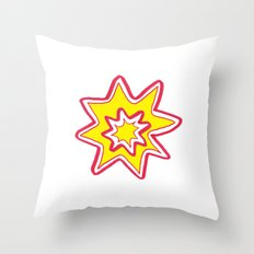 POW! - yellow, red, white Throw Pillow